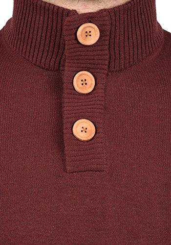 BLEND Lenny Herren Strickpullover Feinstrick Pulli Troyer mit Stehkragen aus hochwertiger Baumwollmischung Andorra Red (73811)