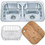 Küchenspüle Doppelbecken Einbauspüle aus Edelstahl. Draht Korb Schüssel Einsatz und Bambus Schneidebrett inbegriffen. (D23 + cb + wb)