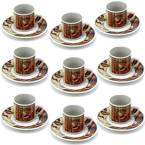 12Tlg Espressotassen Kaffeeservice mit Untertassen Braun Kaffeetassen mit Muster, Türkische Kaffee Tassen Espresso Set STAR-LINE® Mokkatassen