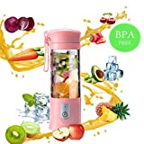 Little ants USB Electric Juice Cup, Juicer blender, Mini Portable Rechargeable Juicing Mixing Crush Ice and Chop Meat Blender Mixer,420ml-500ml Water Cup (Pink)