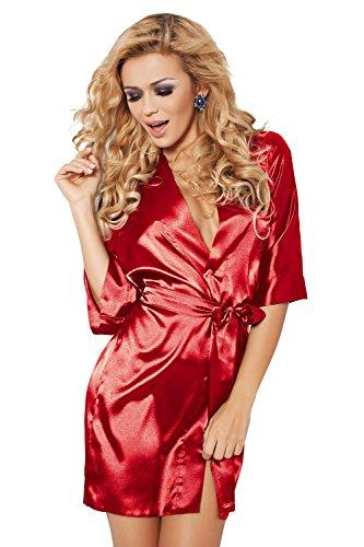 Dkaren-Damen Morgenmantel aus Seide 90cm (XS �?2XL) Rot