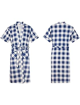 Andensoner Cómodo Hombre Verano Azul Blanco Enrejado Impreso Albornoz Mangas Cortas algodón Albornoz camisón Pijama
