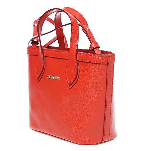 Trussardi Femme Petit sac provisions avec sangle d'épaule en Saffiano, Cuir de veau authentique 24x16x8 Cm Mod. 76B103M corail