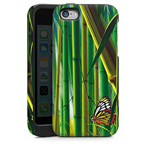 Apple iPhone 4 Housse Étui Silicone Coque Protection Bambou Papillons Nature Cas Tough brillant