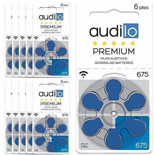 Audilo Erstklassiges Hörgerät 675 (PR44) | Für Hörgeräte [Zink-Luft] [1.45V [Quecksilber von 0%] 60 Hörender Stapel-Satz | Blaue Farbe