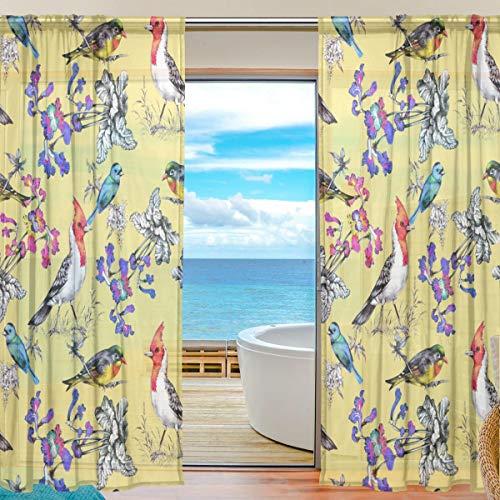 TIZORAX Vorhang mit tropischen Blumen und Vögeln, durchsichtig, Polyleinen-Voile-Vorhang, Gardinenstange für Wohnzimmer, Schlafzimmer, 139,7 x 19,8 cm, 2 Paneele, Polyester, Multi, 55