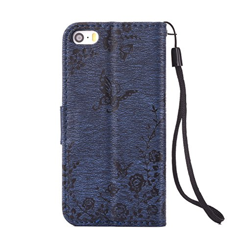 iPhone SE iPhone 5 iPhone 5S Hülle,iPhone SE 5 5S Case,Cozy Hut Campanula-Blumen Design Muster Prägemuster Design Folio Cover Wallet im Bookstyle mit Standfunktion Karteneinschub und Magnetverschluß E marineblau Rosen