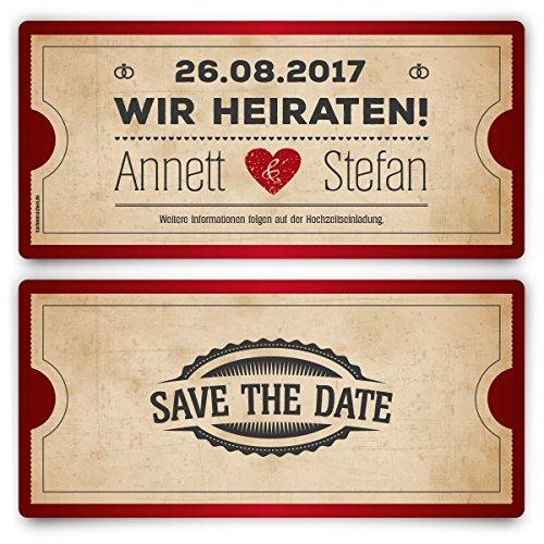 Save the Date Karten zur Hochzeit (20 Stück) - Vintage Herz in Rot