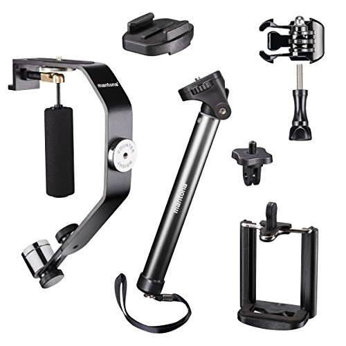Mantona Selfy Advanced Set I für GoPro/Smartphone inkl. Selfie Stativ/Smartphone Adapter/Schwebestativ/GoPro Adapter