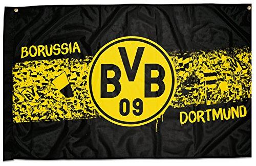 Borussia Dortmund BVB 17130200 Zimmerfahne Südtribüne 140x90cm, Schwarz/gelb, 140 x 90 x 1 cm