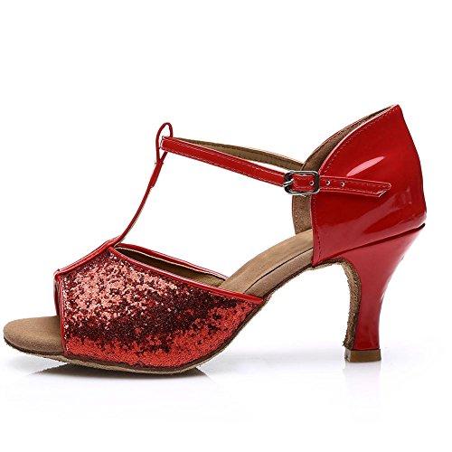 HROYL Damen Tanzschuhe/Latin Dance Schuhe Satin Ballsaal Modell-D7-216 Rot EU39