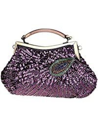fb85520251 Nosterappou Borsa da pranzo, borsa da donna con pochette di perline vestito  lucido femminile borsa