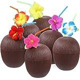 12 Piezas de Tazas en Forma de Coco de Plástico Luau Hawaiana con Pajitas de Doblar de Flor Hibiscus para Materiales de Fiesta Temática de Playa