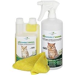 Ecosharkz Geruchsneutralisierer Spray für Katzen - natürlicher Katzenurin Entferner - Gegen Katzenklo Geruch (500ml Konzentrat ergeben 25 Liter gebrauchsfertigen Urin-Geruchsentferner)