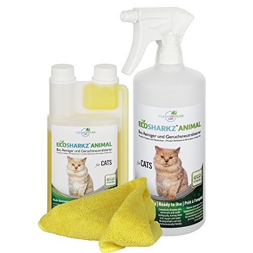 Best Cat Urine Remover Spray - Cleans Litter Tray: Ecosharkz ANIMAL for CATS Probiotic Cleaner and Deodorizer for Cats (500ml Concentrate yields 25 Litres Ready to Use)