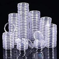 Hicarer 100 Piezas de Cápsulas de Monedas Transparente Funda de Moneda Redondo Materiales de Collección de Monedas (25 mm)