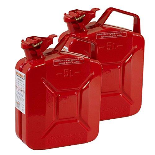 2er Set 5 Liter Benzinkanister Metall GGVS mit Sicherungsstift rot Blechkanister