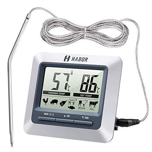 Habor Grillthermometer Ofenthermometer großen LCD Display Lange 304 Edelstahl Messfühler 1m Kable und Count Down Timer für Garten Grillen Backen Ofen.
