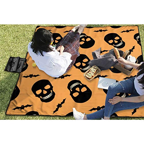 BigHappyShop Picnic Blanket Halloween Skulls and Bats Orange Waterproof Extra Large Outdoor Mat Camping Or Travel Easy Carry Compact Tote Bag 59