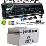 VW Golf 3 III - Autoradio Radio Kenwood KDC-X7200DAB - DAB+ | Bluetooth | CD | 2X USB Hinten | iPhone/Android - Einbauzubehör - Einbauset