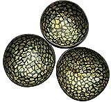 SimSim Cocobowl Kokosnuss Schalen mit Intarsien im 3er Set Coconut Bowl (Gold/Eierschalen Mosaik)