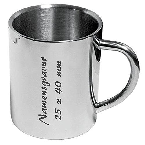 Tasse, Edelstahl, Metallbecher, doppelwandig, 210 ml inkl. Namensgravur