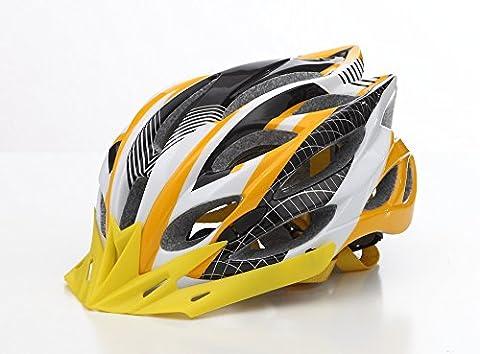 HAOXUAN Helmets Riding Helmet Bicycle Helmet Ultra-Lightweight Composite Helmet Mountain Front Helmet, Yellow and Black One Size