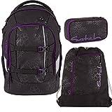 Satch Pack by Ergobag Purple Hibiscus 3-tlg. Set Schulrucksack + Schlamperbox inkl. Geodreieck + Sportbeutel