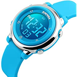 ETOWS® Digital Kids Watch Band with Hourly Chime, Stopwatch, Daily Alarm & Calendar (Blue)