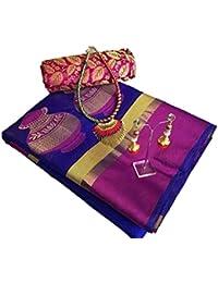 Art Décor Sarees Women's Black Color Banarasi Silk Jacquard Saree With Blouse With Jewellery Necklace & Latkan
