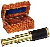 Brass Pullout Telescope w/ Wood Box