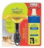 FURminator deShedding-Pflegewerkzeug (für langhaarige große Hunde, Größe L, mit Gratis Anti-Haaren Trockenspray)