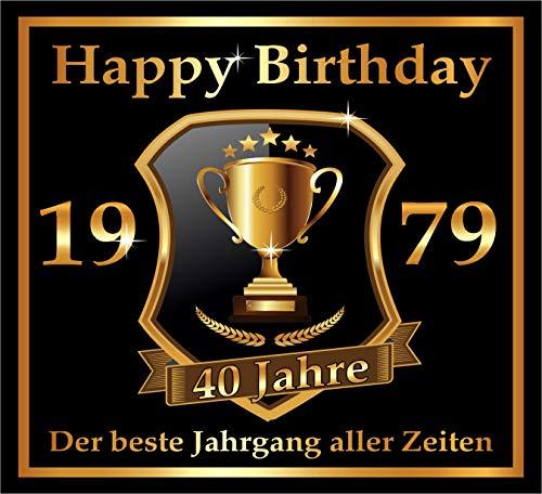 leber zum 40. Geburtstag: 1979 der Beste Jahrgang Aller Zeiten - Selbstklebendes Flaschen-Etikett. Original Design ()