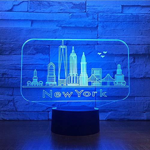 Edificio De La Ciudad De Nueva York Luz De Noche En 3D Colorido Ambiente De Led Lámpara De Mesa En El Dormitorio Cambio De Color En 3D Usb Luz De Noche En Led