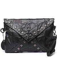 Jonon Mujer Piel De Oveja Cruz Studded Ladies embrague bolsa bolso crossbody bolsa