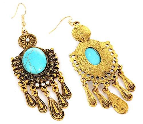 Orecchini stile vintage retro bohemien pendenti con amuleto, pietra turchese effetto oro o argento di DesiDo® (oro)