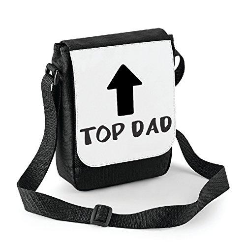 Mini borsa a tracolla Festa del Papà Top Dad - humor - happy fathers day - idea regalo - misura 18x22 cm Bianco