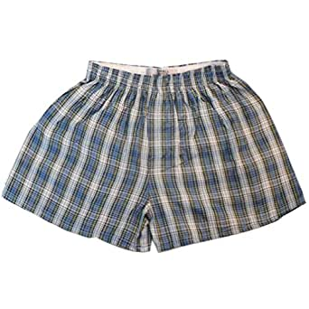 6 x Woven Classic Cotton Blend Loose Boxer Shorts with Elastic Waist Band Underwear Size:Small