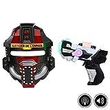 Masque et pistolet lumineux - Noir et rouge