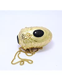 GiftingBestWishes Golden Metal Clutch Cum Sling Bag With Strong Metal Chain For Women