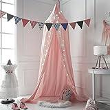 Cama con dosel para niños, Cuna redonda del lecho del bebé, Kids Princess Play Tienda de campaña Colgando la mosquitera de algodón, Decoraciones de la guardería, Decoración de la habitación para niños (Rosa)