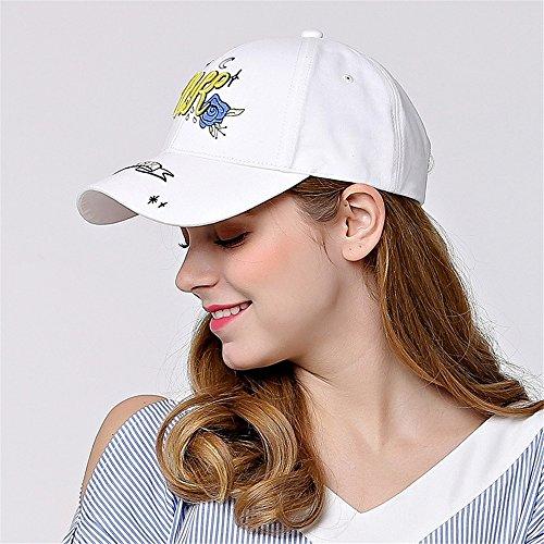 ZIXERN Unisex Caps Jugend-Frauen-Frühlings-Sommer-Studenten-Baseballmütze gestickter Brief Plus Blumen im Freien Sunblock-Kappe Baseballmützen (Farbe : Weiß) -