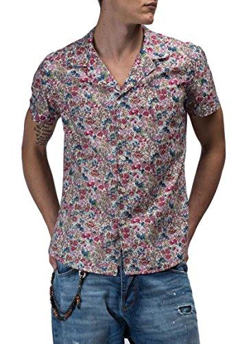 ANTONY MORATO - Camicia da uomo maniche corte a fiori 46 (s) bordeaux