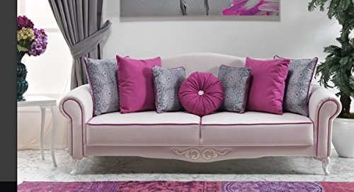 Casa Padrino Neo Barock 3er Sofa Milano Weiß/Pink - Hotel Möbel - Luxury Collection
