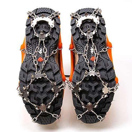 TZTED Schuhkrallen mit Zähnen Silikon Schuhspikes für Bodenhaftung auf EIS und Schnee Schneeketten Steigeisen mit Edelstahlspikes,Orange,L(40~45)