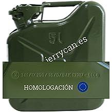 JERRY CAN, BIDON METALICO 5L VERDE MILITAR - - HOMOLOGADO PARA EL TRANSPORTE DE GASOLINA - SPP/JC5V