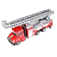 Mumustar Fire Engine with Water Pump and Extending Ladder / Excavator / Transport Carrier Truck / Dump Truck Toy For Baby Kids Children