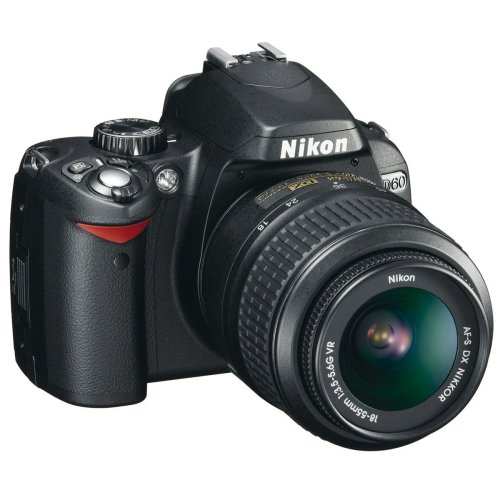 Nikon D60 SLR-Digitalkamera (10 Megapixel) Kit inkl. 18-55mm 1:3,5-5,6G VR Objektiv (bildstab.) (Nikon Makro-blitz)