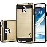 tinxi® Höhequalität Schutzhülle für Samsung Galaxy Note 3 5,7 Zoll Hülle Rutschfest Shock Proof Rück Schale Cover Case Schutz aus PC RückSchale mit silikon Rand sowie Innenschale Gold