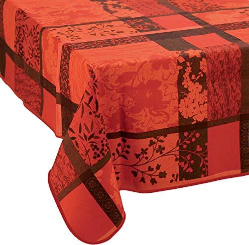 Nappe anti-taches Jacquard rouge - taille : Carrée 180x180 cm